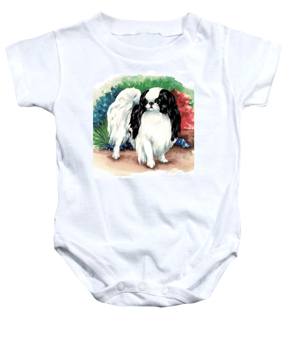Japanese Chin Baby Onesie featuring the painting Garden Chin by Kathleen Sepulveda