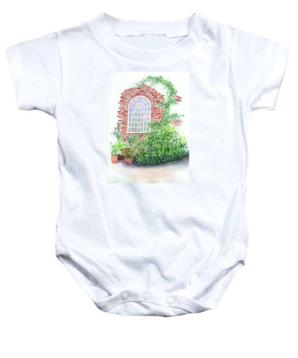 Window Baby Onesie featuring the painting Garden Wall by Lynn Quinn