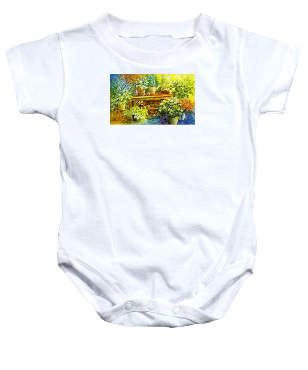 Greenhouse;plants;flowers;gardener;workbench;sprinkling Can;contemporary Baby Onesie featuring the painting Gardener's Joy by Lois Mountz