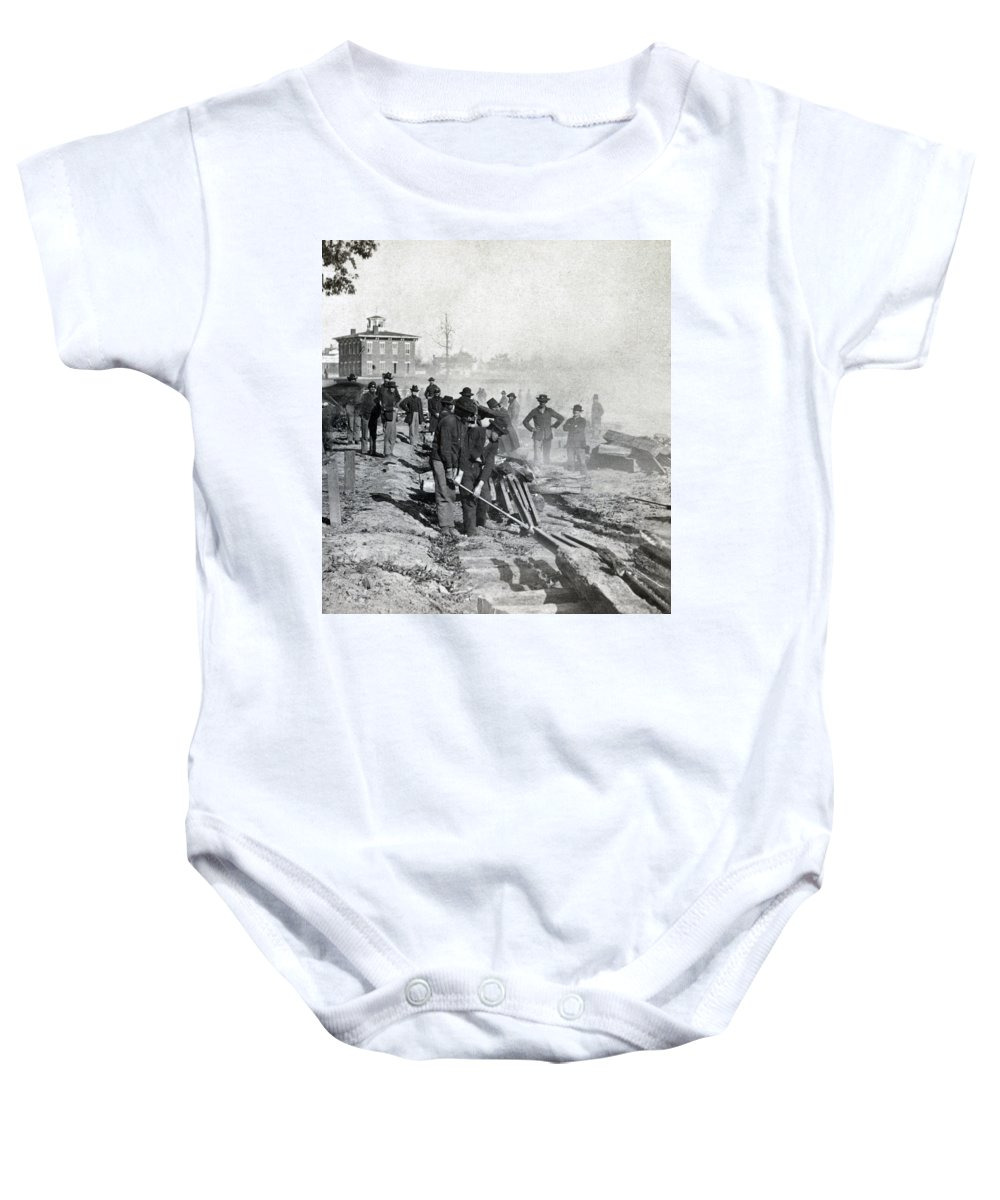civil War Baby Onesie featuring the photograph Gen Shermans Troops Destroying Railroad Before The Evacuation Of Atlanta - C 1864 by International Images