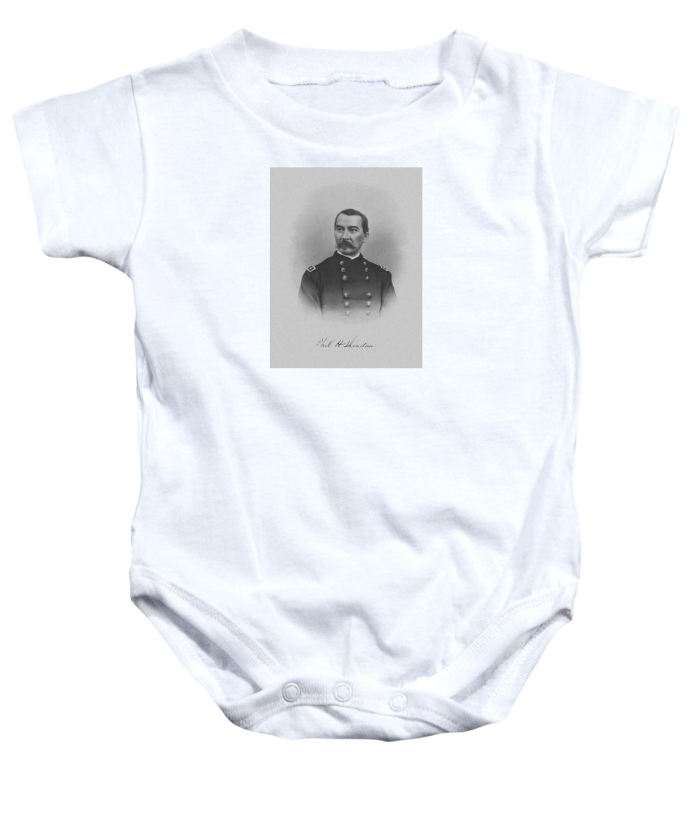 Philip Sheridan Baby Onesie featuring the mixed media General Philip Sheridan by War Is Hell Store