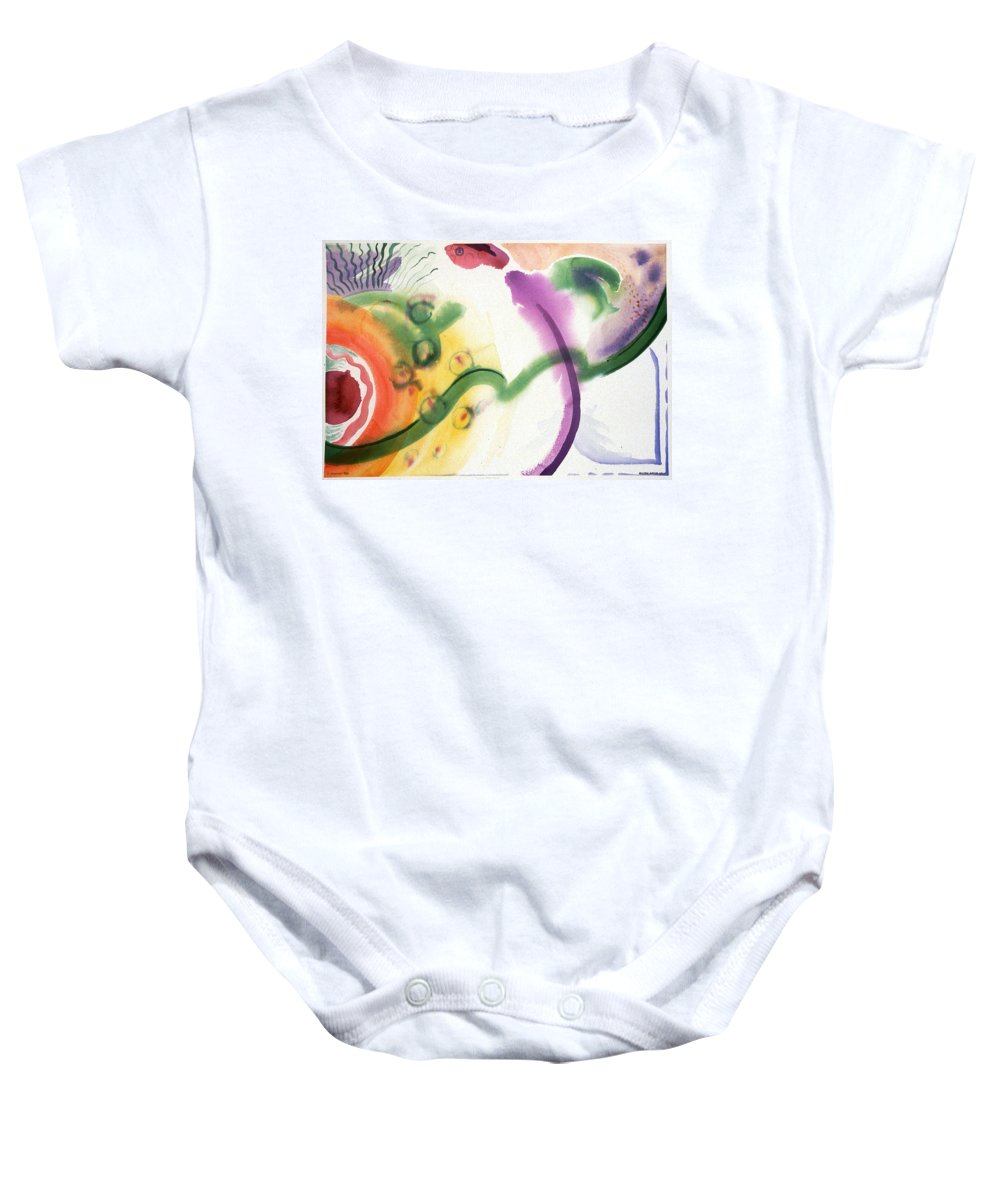 Abstract Baby Onesie featuring the painting Geomantic Blossom Ripening by Eileen Hale