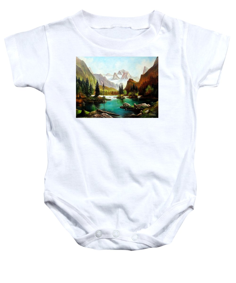 Oil Painting Baby Onesie featuring the painting German Alps by John Lyes