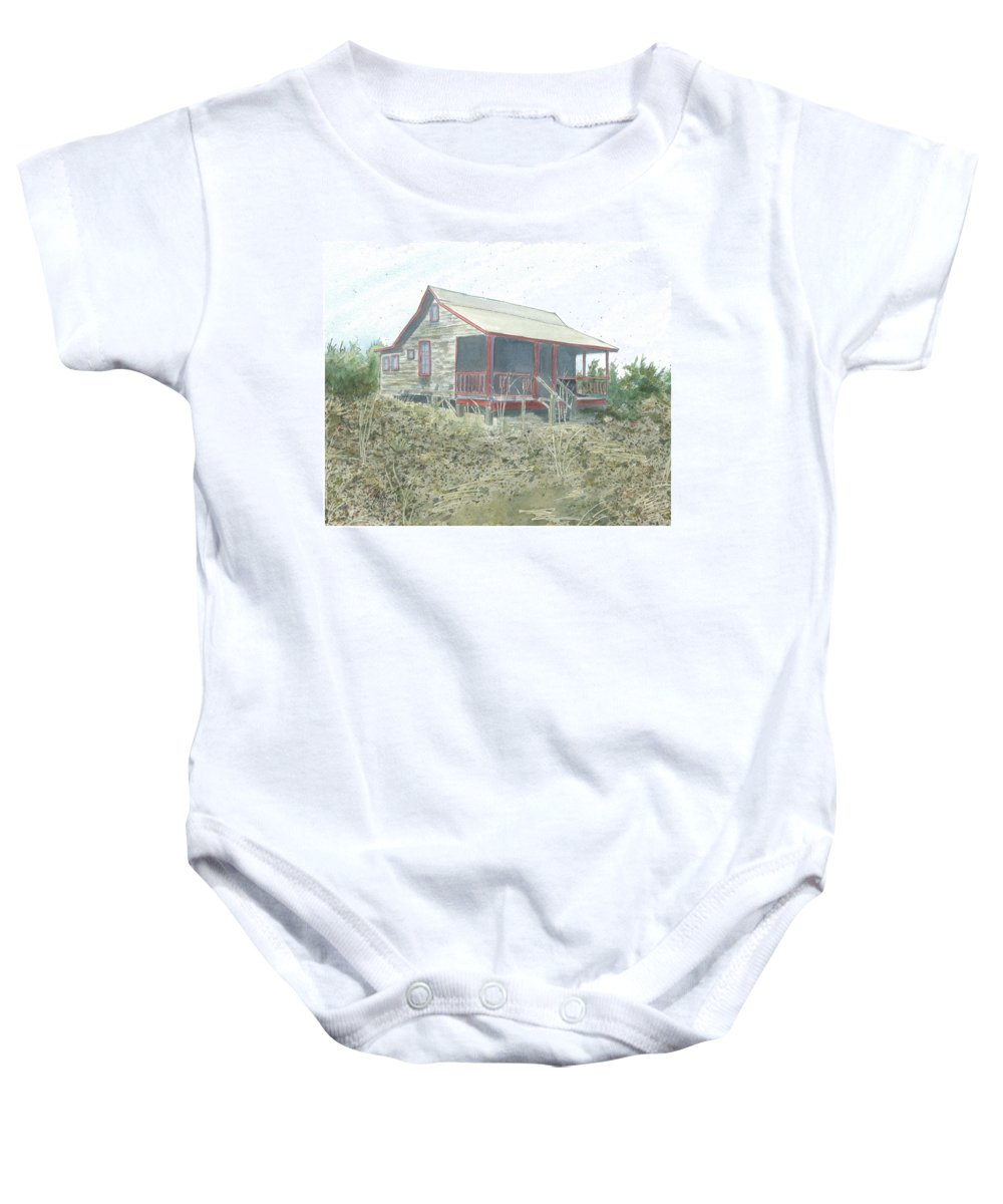 Vacation Cottage Baby Onesie featuring the painting Get Away Cottage by Joel Deutsch