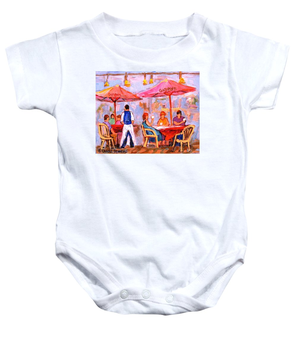 Gibbys Restaurant Montreal Street Scenes Baby Onesie featuring the painting Gibbys Cafe by Carole Spandau
