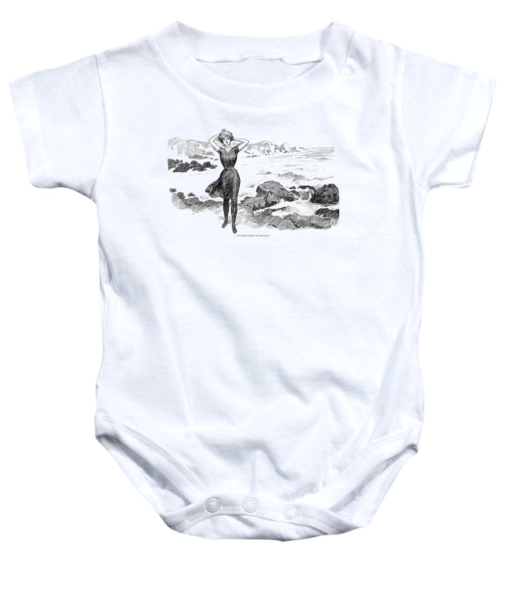 1902 Baby Onesie featuring the photograph Gibson: Bather, 1902 by Granger