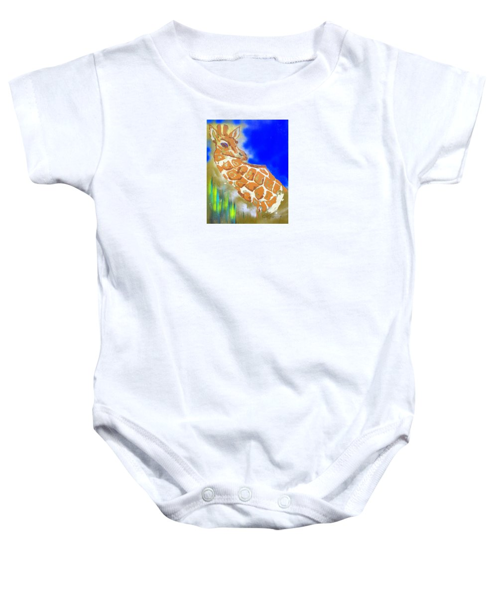 Impressionist Painting Baby Onesie featuring the painting Giraffe by J R Seymour