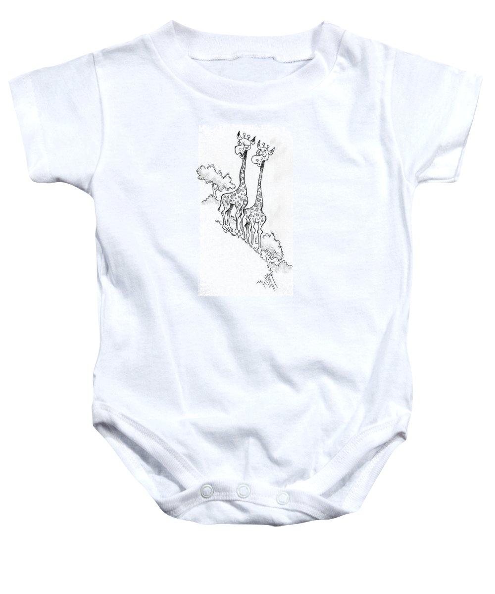 Giraffes Baby Onesie featuring the drawing Giraffes by Ersin Ipek