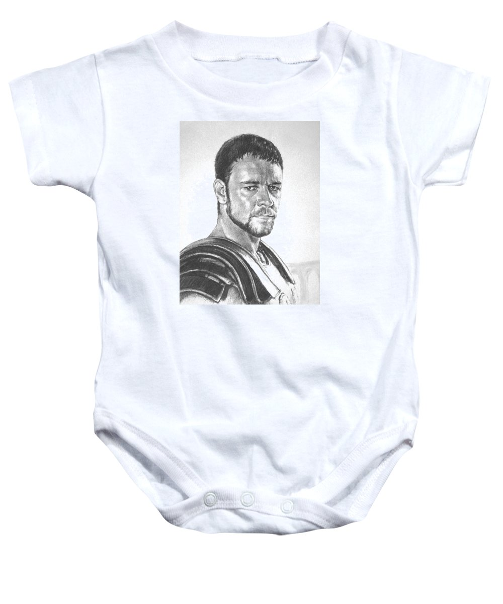 Portraits Baby Onesie featuring the drawing Gladiator by Iliyan Bozhanov