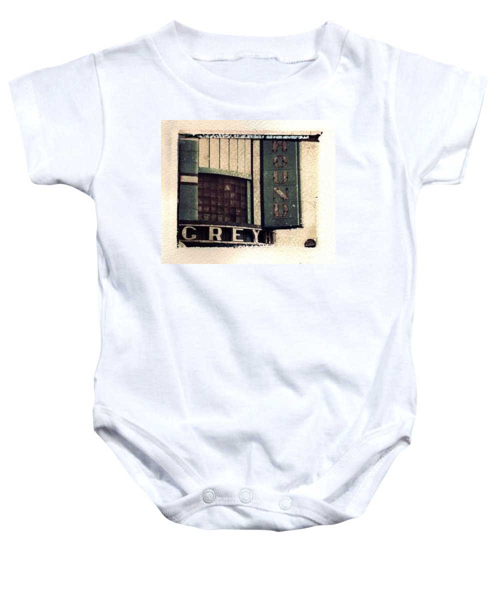 Polaroid Transfer Baby Onesie featuring the photograph Go Greyhound And Leave The Driving To Us by Jane Linders