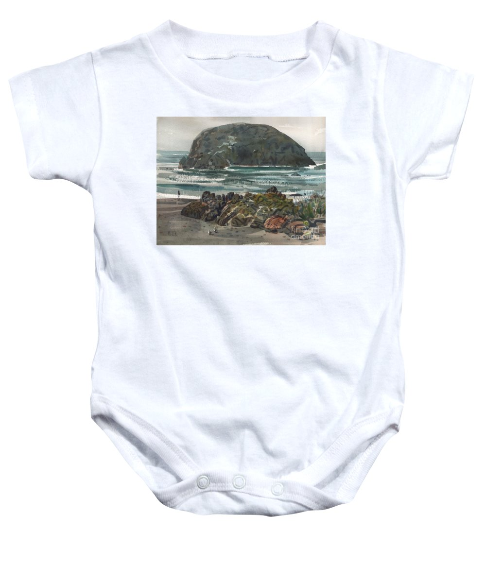Goat Rock Baby Onesie featuring the painting Goat Rock by Donald Maier