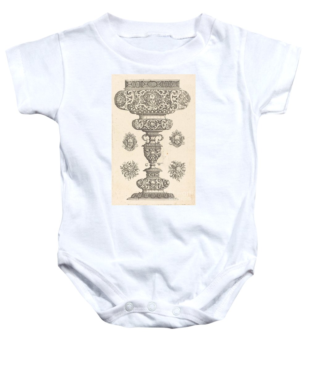 Baby Onesie featuring the drawing Goblet, Rim Decorated With Masque And Bouquet Of Fruit by Georg Wechter I