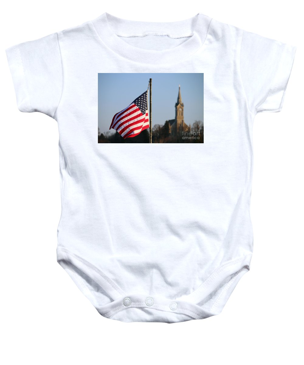 Flag Baby Onesie featuring the photograph God And Country 2 by Eric Curtin
