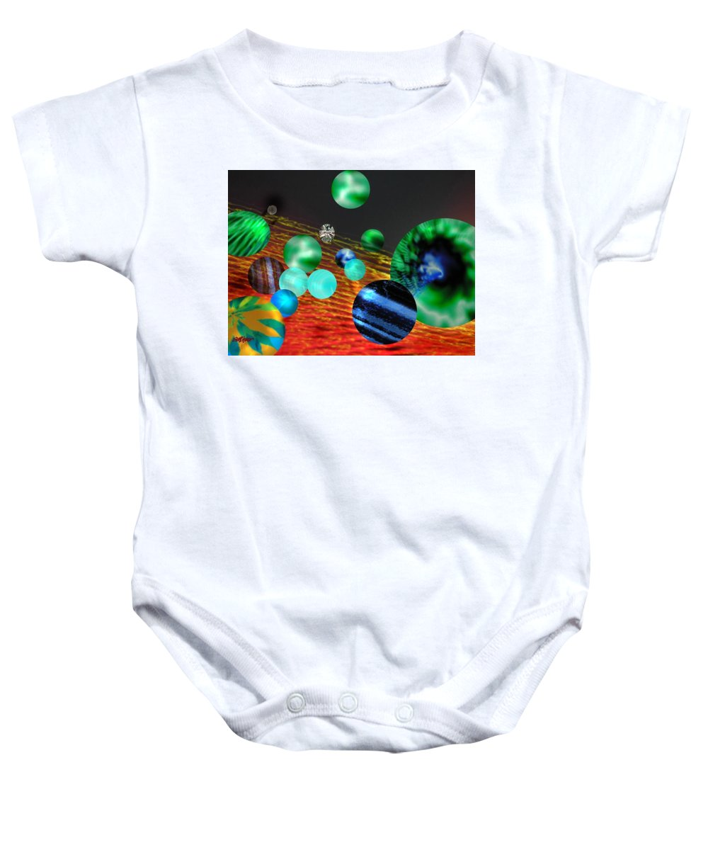 A Tribute To Donovan And His Song cosmic Wheels. A Line In The Song...god Is Playing Marbles With Baby Onesie featuring the digital art God Playing Marbles Tribute To Donovan by Seth Weaver