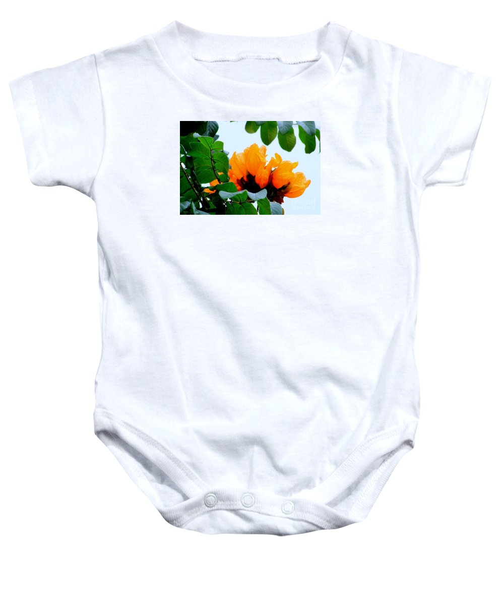 Africa Baby Onesie featuring the photograph Gold African Tulips by Mary Deal