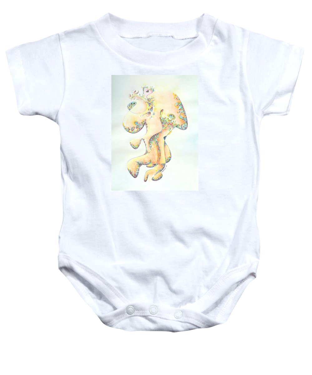Figure Baby Onesie featuring the painting Gold Bejeweled Fertility Goddess by Dave Martsolf