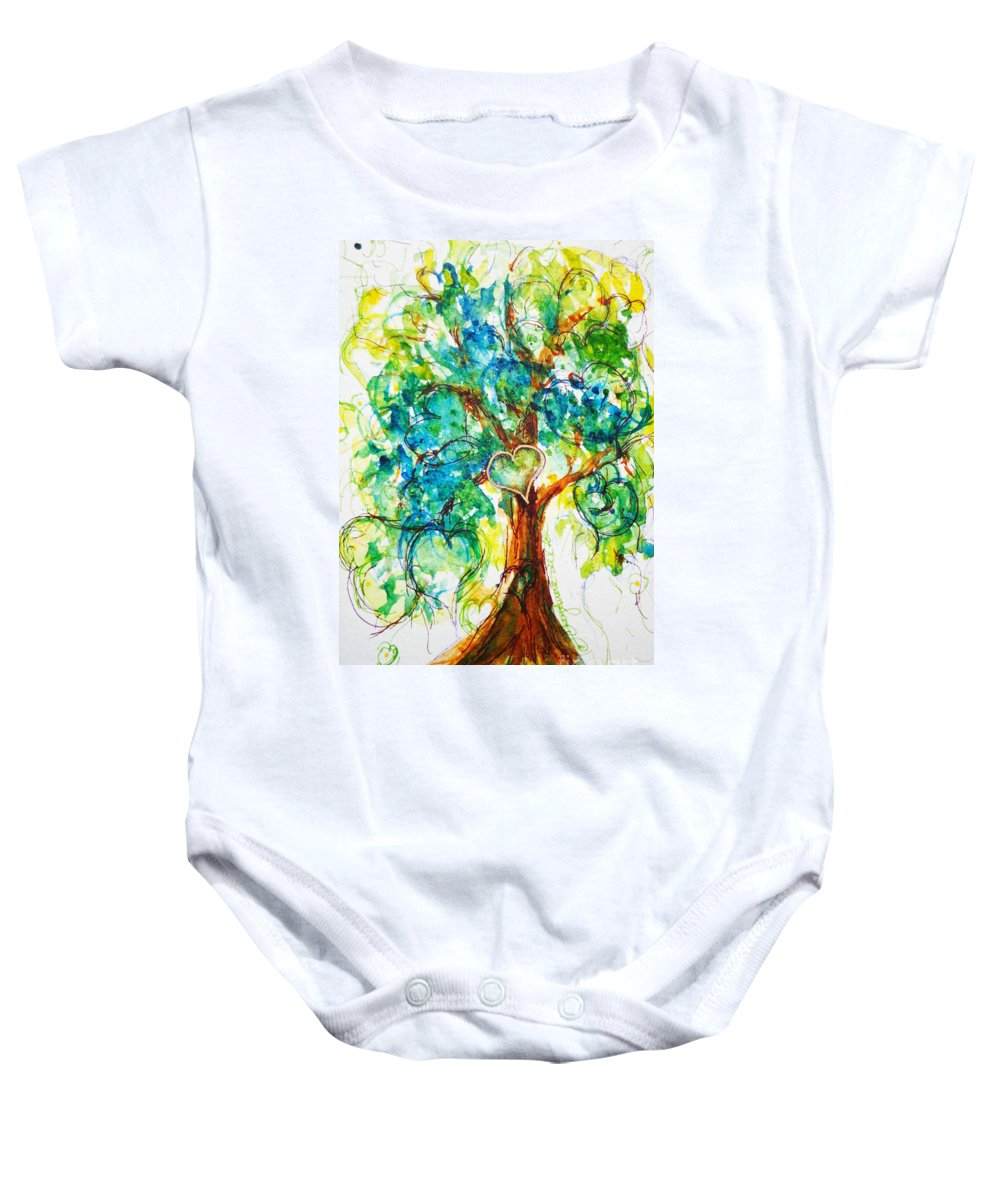 Valentine Baby Onesie featuring the painting Gold Heart Valentine Tree Watercolor N Ink by CheyAnne Sexton