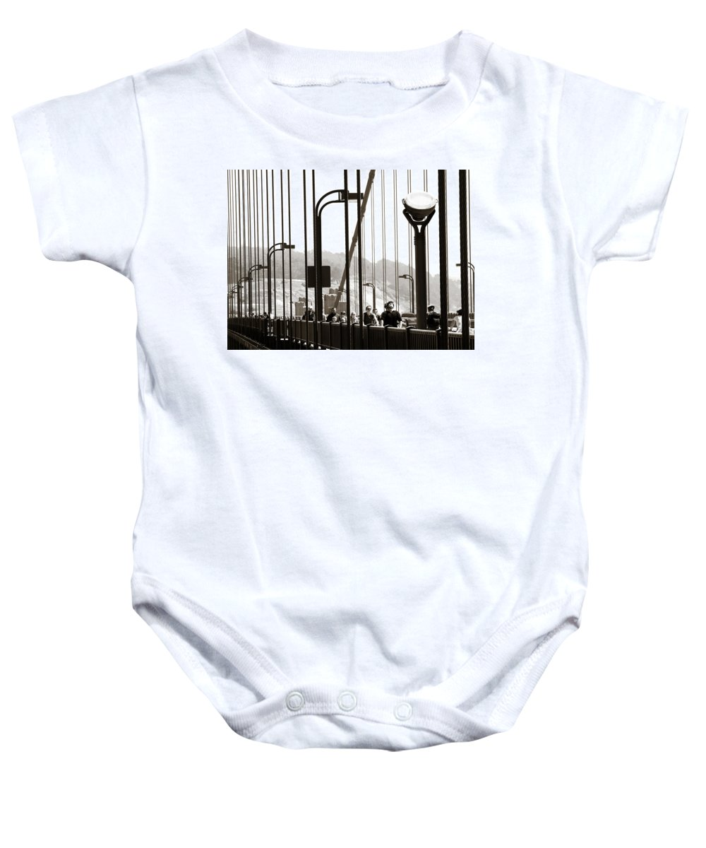 Americana Baby Onesie featuring the photograph Golden Gate Suspension by Marilyn Hunt