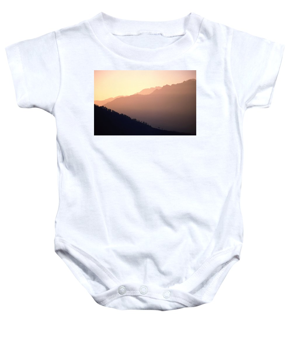 Langtang Baby Onesie featuring the photograph Golden Mountains by Patrick Klauss