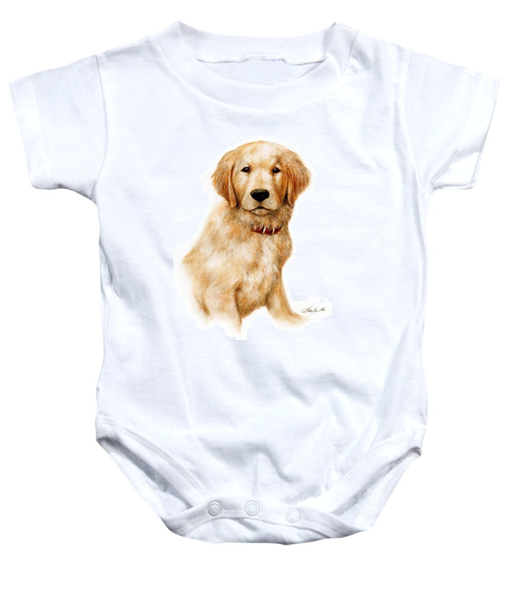 Dog Art Puppy Bruce Lennon Baby Onesie featuring the painting Golden Pup by Bruce Lennon