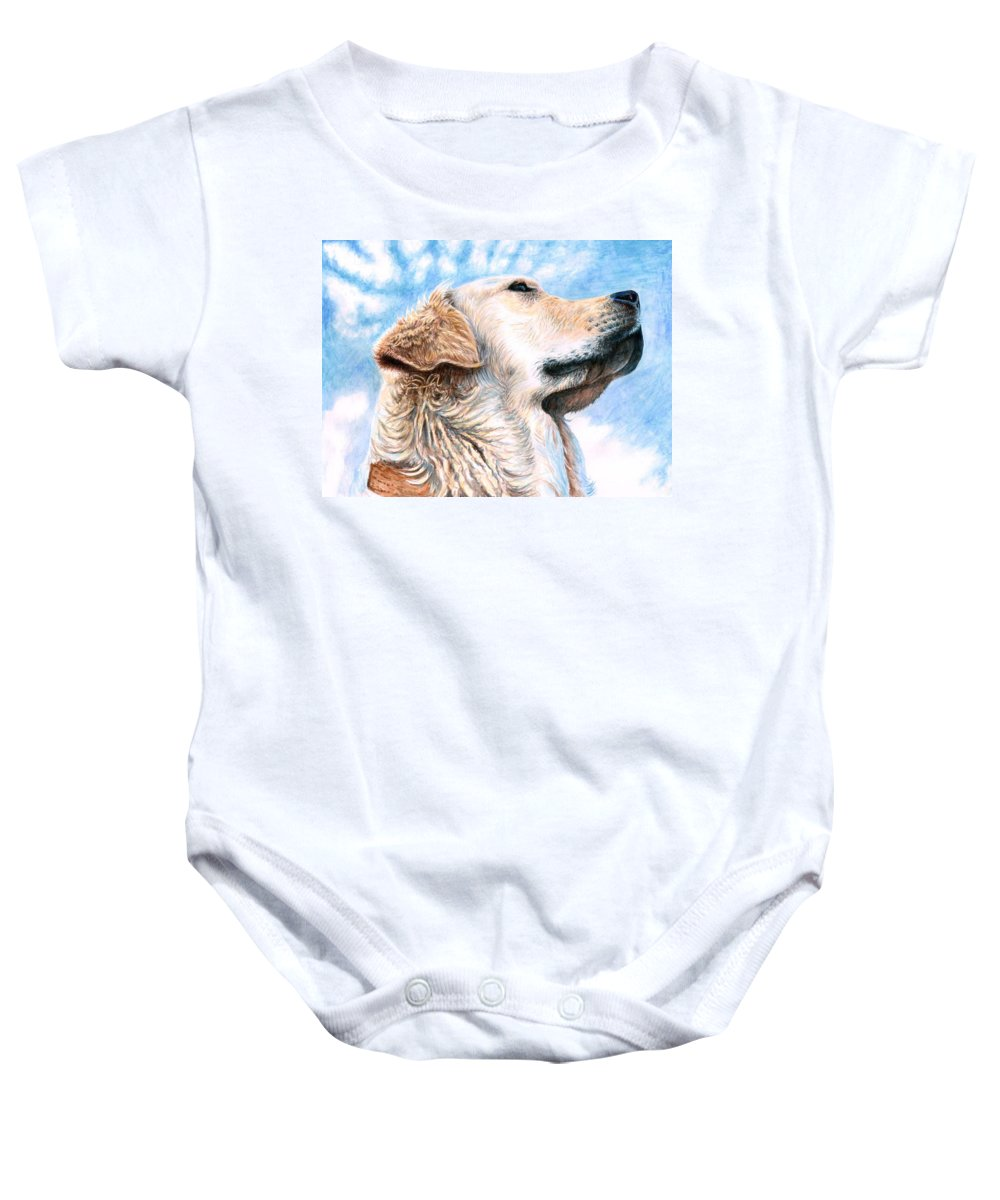 Dog Baby Onesie featuring the painting Golden Retriever by Nicole Zeug