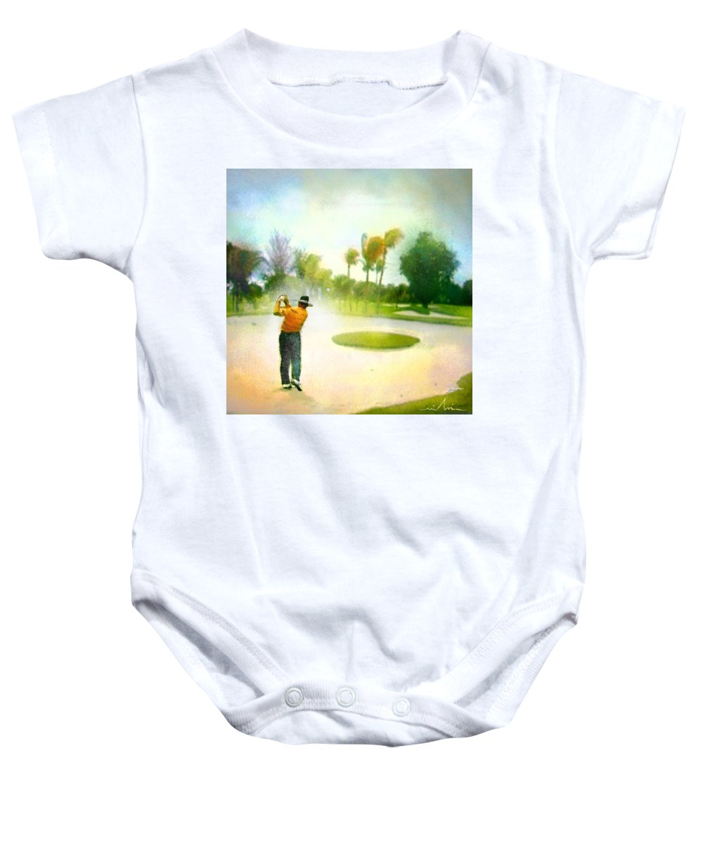 Golf Baby Onesie featuring the painting Golf At The Blue Monster In Doral Florida 02 by Miki De Goodaboom