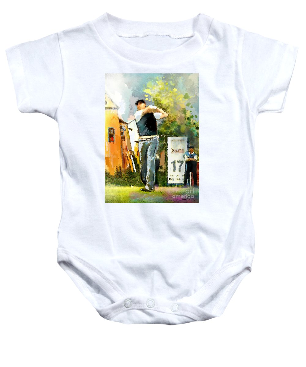 Golf Baby Onesie featuring the painting Golf In Club Fontana Austria 01 Dyptic Part 01 by Miki De Goodaboom