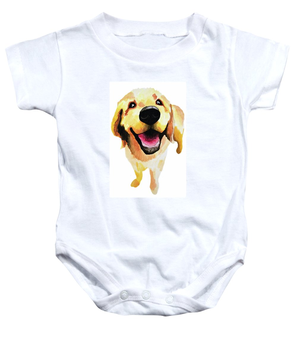 Dog Baby Onesie featuring the painting Good Boy by Amy Giacomelli
