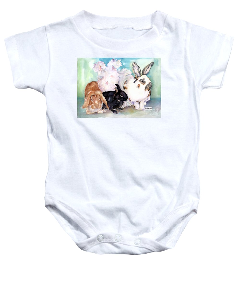 Animal Artwork Baby Onesie featuring the painting Good Hare Day by Pat Saunders-White