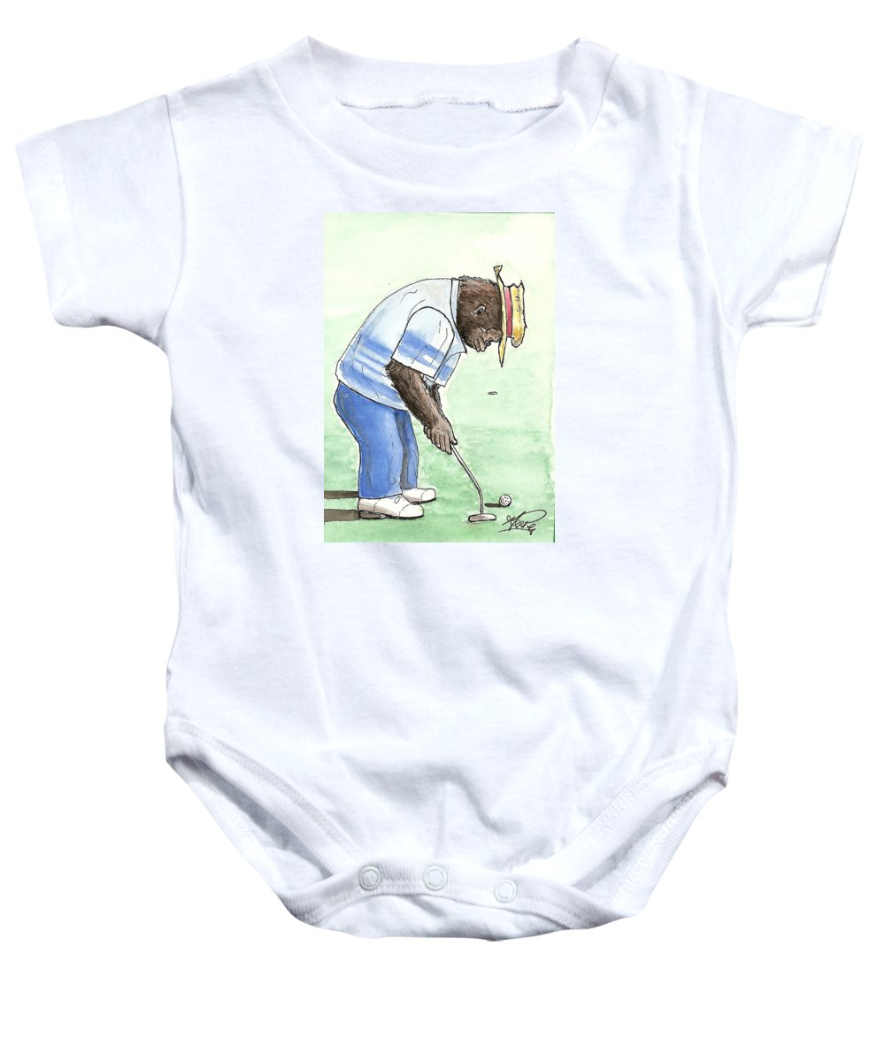 Golf Baby Onesie featuring the painting Got You Now by George I Perez