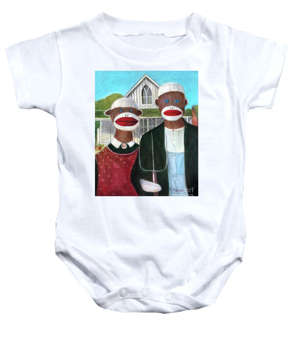 Masterpiece Baby Onesie featuring the painting Gothic American Sock Monkeys by Randy Burns