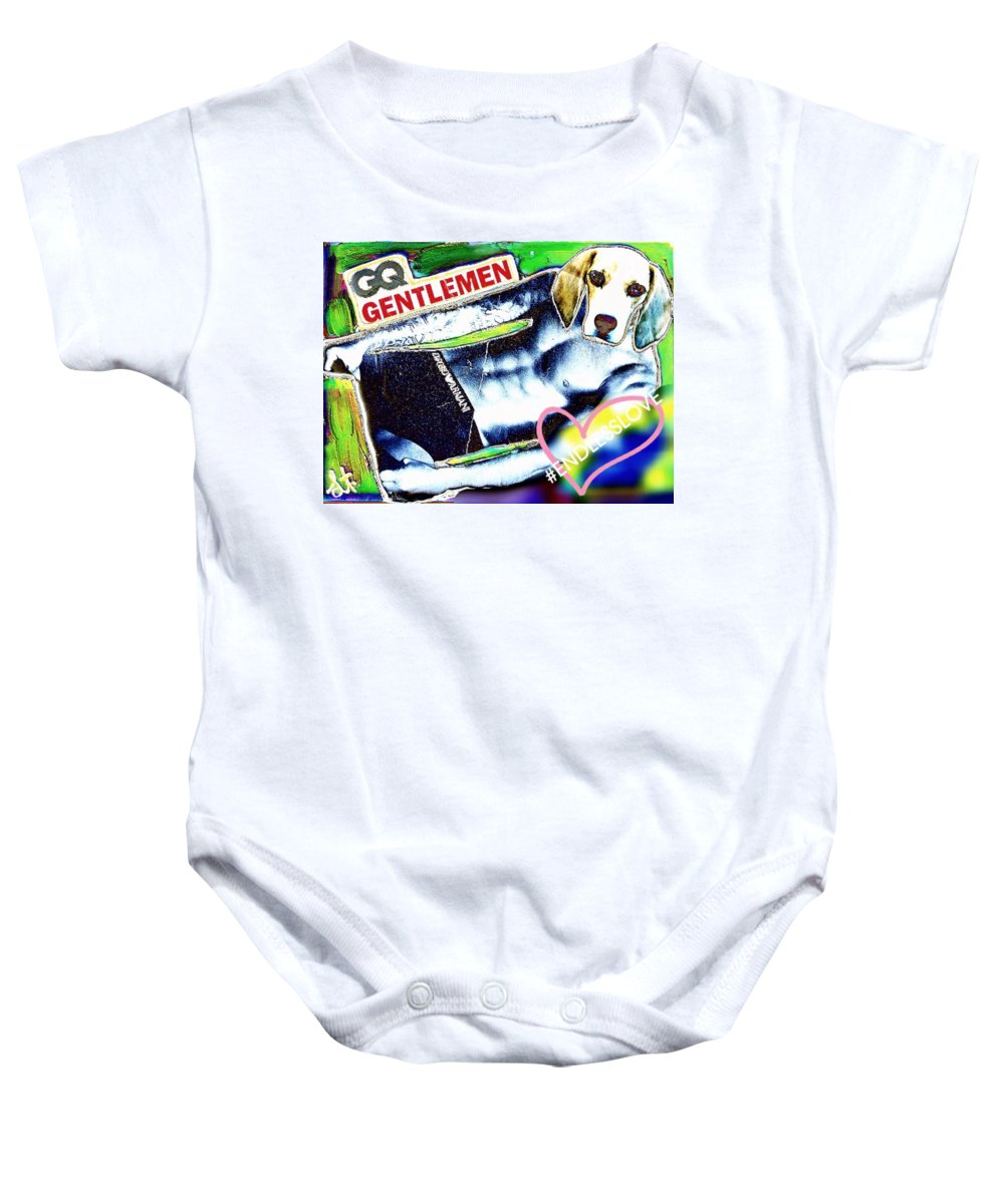 #lisa Baby Onesie featuring the photograph Gq Gentle Dog by Lisa Piper