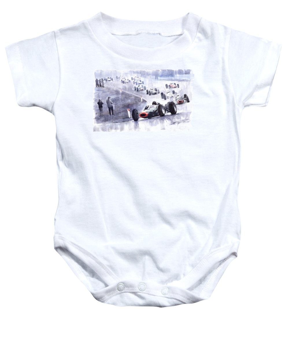 Brm P261 Baby Onesie featuring the painting Graham Hill Brm P261 Belgian Gp 1965 by Yuriy Shevchuk