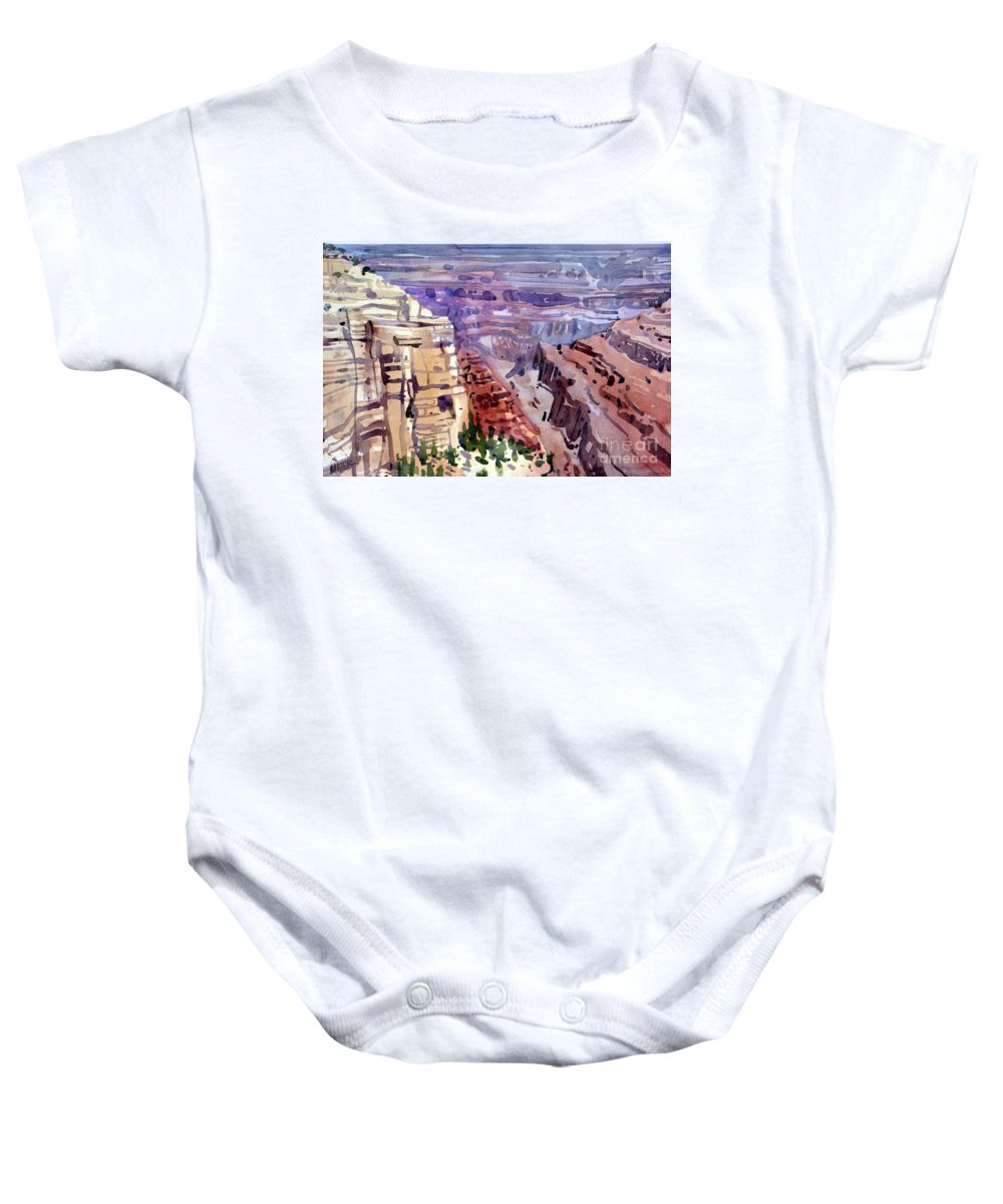 Grand Canyon Baby Onesie featuring the painting Grand Canyon View by Donald Maier
