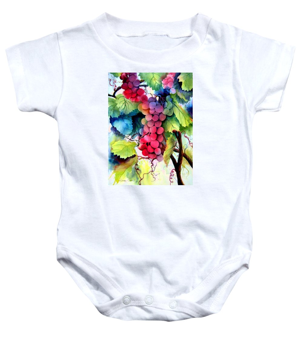 Grapes Baby Onesie featuring the painting Grapes by Karen Stark