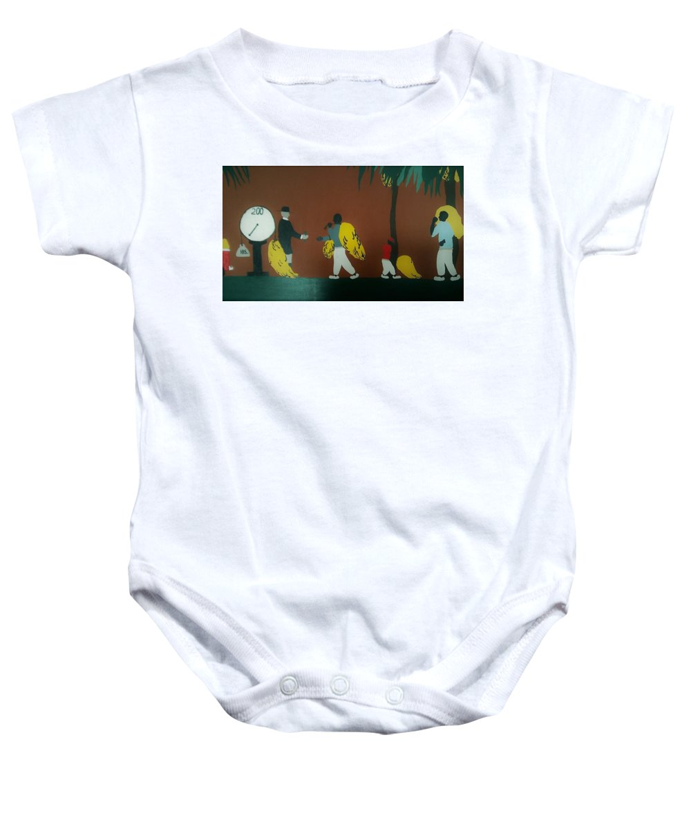 Banana Man Baby Onesie featuring the painting Grave Yard by Demarco Kelly