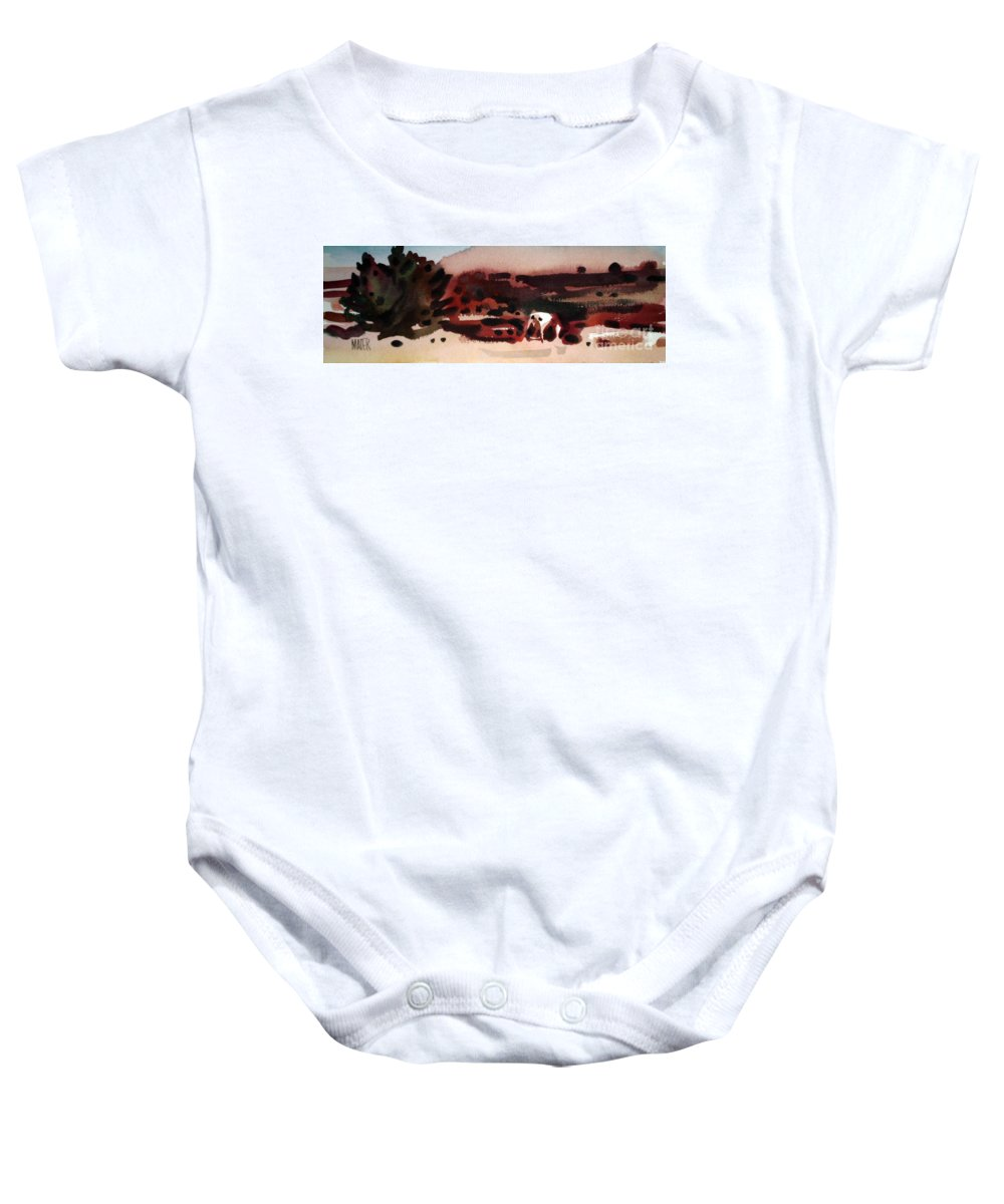 Horse Baby Onesie featuring the painting Grazing Pinto by Donald Maier