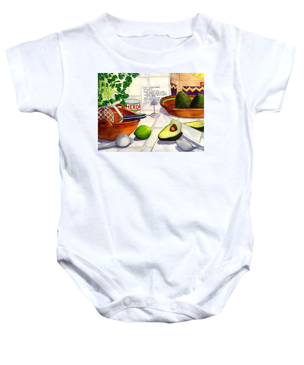 Guacamole Baby Onesie featuring the painting Great Guac. by Catherine G McElroy