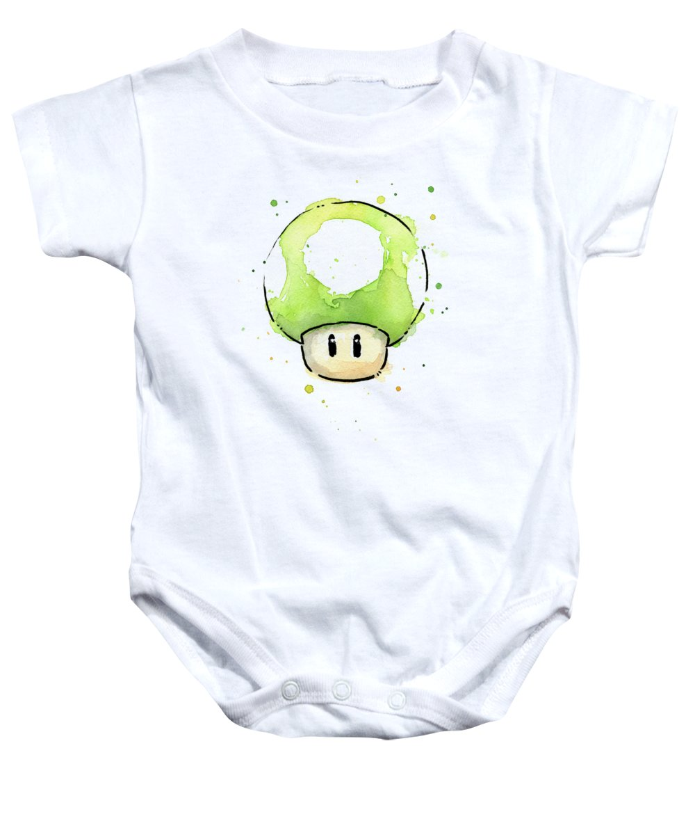 Video Game Baby Onesie featuring the painting Green 1UP Mushroom by Olga Shvartsur