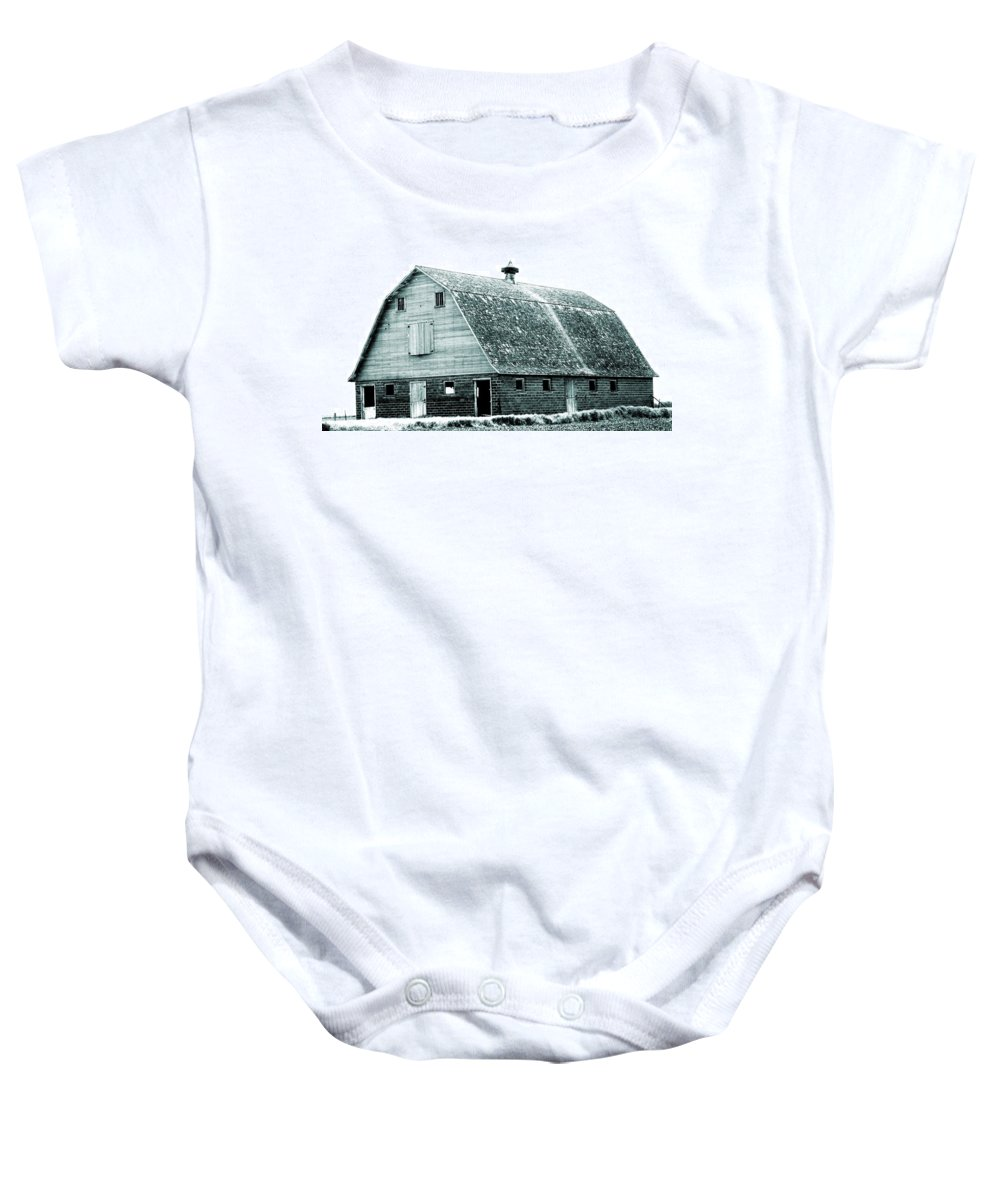 Barn Baby Onesie featuring the photograph Green Field Barn by Julie Hamilton