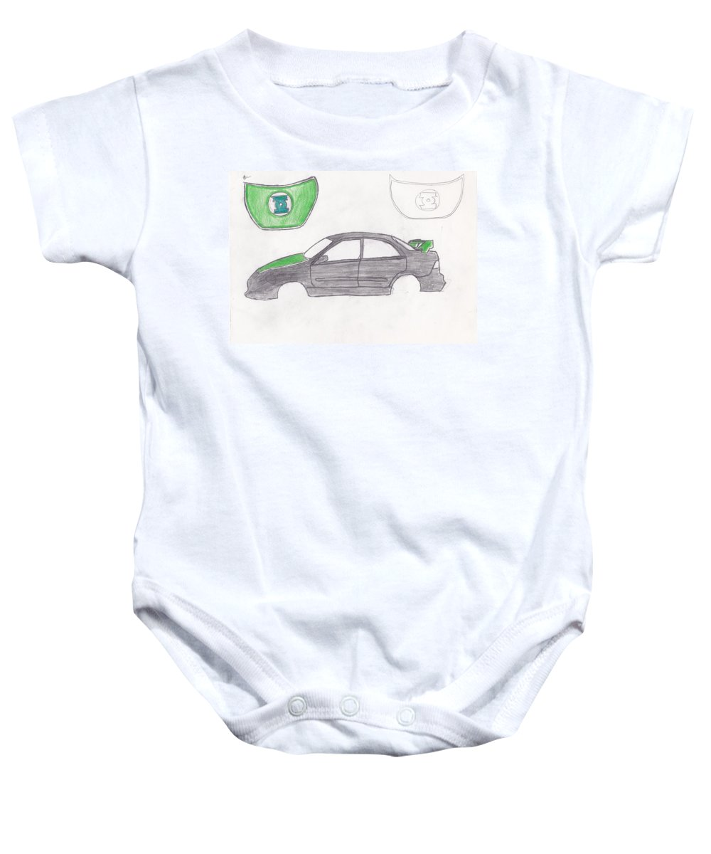 Car Baby Onesie featuring the drawing Green Lantern Car by Adam Norman