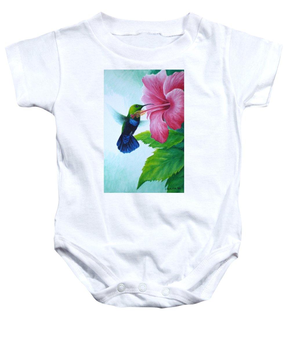 Green-throated Carib Hummingbird Baby Onesie featuring the painting Green-throated Carib And Pink Hibiscus by Christopher Cox