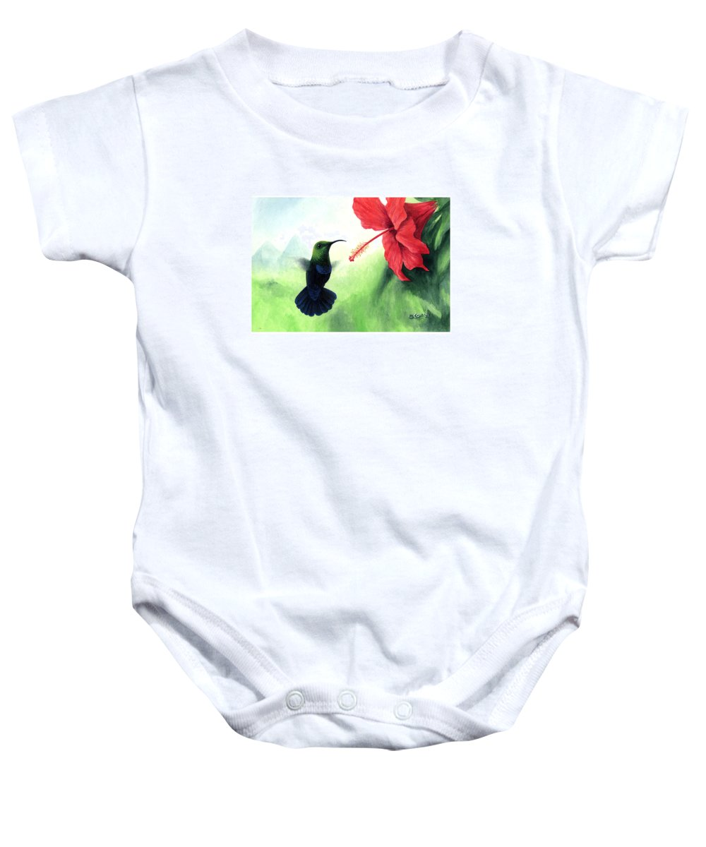 Chris Cox Baby Onesie featuring the painting Green-throated Carib Hummingbird And Red Hibiscus by Christopher Cox