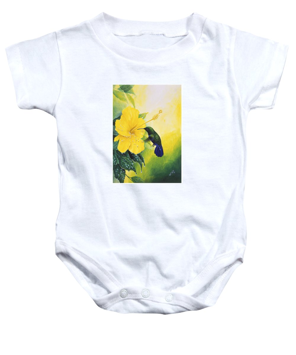 Chris Cox Baby Onesie featuring the painting Green-throated Carib Hummingbird And Yellow Hibiscus by Christopher Cox
