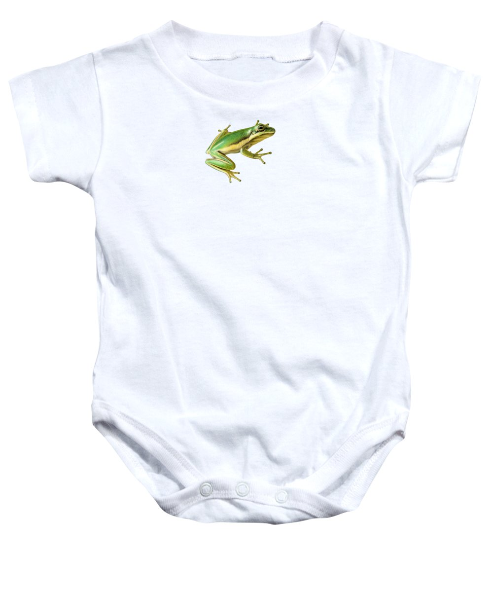 Frog Baby Onesie featuring the painting Green Tree Frog by Sarah Batalka