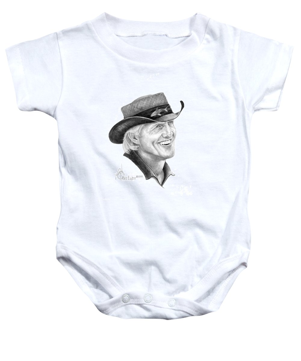 Greg Norman Baby Onesie featuring the drawing Greg Norman by Murphy Elliott