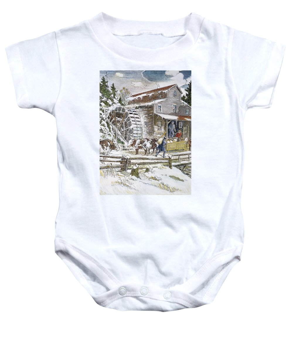 19th Century Baby Onesie featuring the photograph Grist Mill, 19th Century by Granger