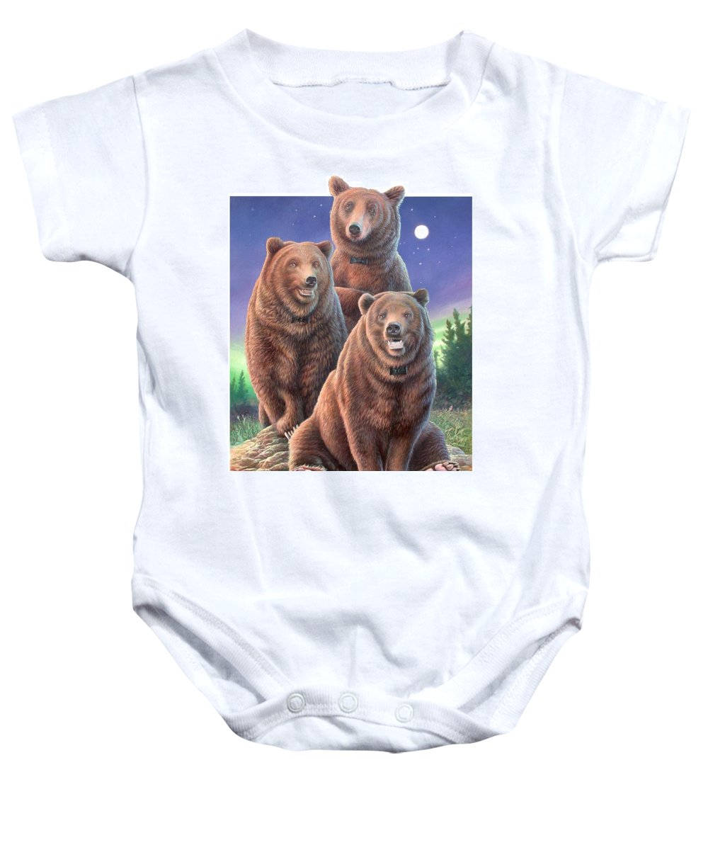 Grizzly Baby Onesie featuring the painting Grizzly Bears In Starry Night by Hans Droog