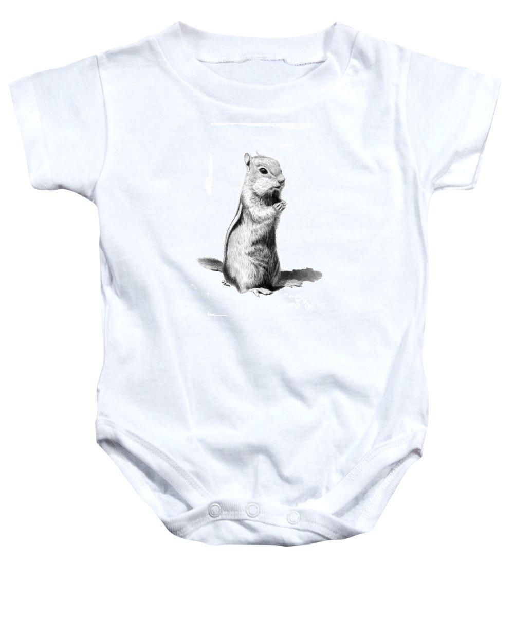 Ground Squirrel Baby Onesie featuring the drawing Ground Squirrel by Lynn Quinn