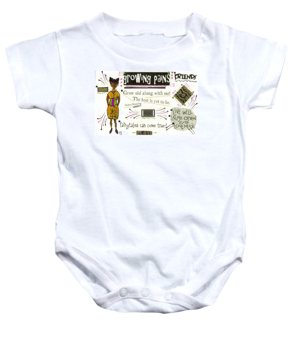 Gretting Cards Baby Onesie featuring the mixed media Grow Old With Me by Angela L Walker